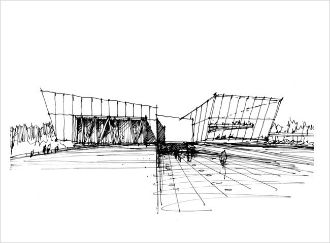 广场阶梯透视图手绘